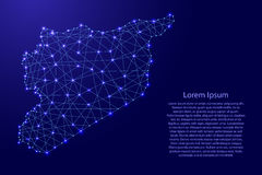 Map of Syria from polygonal blue lines, glowing stars  illustration Stock Photo