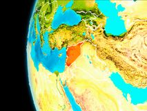 Map of Syria in red. Syria as seen from Earth's orbit on planet Earth highlighted in red with visible borders. 3D illustration. Elements of this image Royalty Free Stock Image