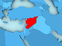 Map of Syria. Syria in red on blue political map. 3D illustration Royalty Free Stock Photos