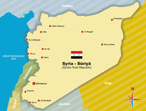 Map of Syria. Syria. Vector map of Syrian Arab Republic Royalty Free Stock Photos