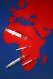 Map with syringes and needles. Map with drugs. Possible illustration for aids, diabetes, depression and some other diseases Royalty Free Stock Photo