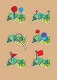 Map szpilki i markier ikona Wektorowy set ilustracja wektor