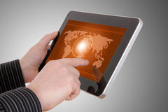 Map on tablet , on businessman hands Royalty Free Stock Image