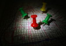 Map tacks Stock Photography