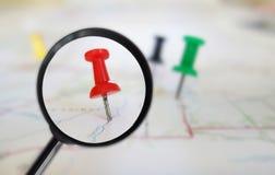 Map tacks magnified Stock Image