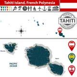 Map of Tahiti island, French Polynesia Stock Photo