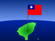 Map of Taiwan with flag Royalty Free Stock Images
