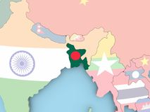 Map of Tajikistan with flag on globe. Tajikistan with embedded flag. 3D illustration Stock Images