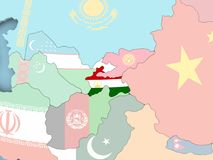Map of Tajikistan with flag on globe. Tajikistan with embedded flag. 3D illustration Royalty Free Stock Photo