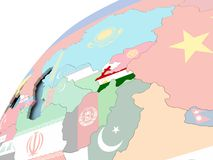 Tajikistan on globe with flag. Map of Tajikistan on political globe with embedded flag. 3D illustration Stock Photography