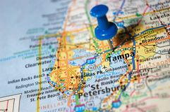 Tampa, Florida. A map of Tampa, Florida marked with a push pin royalty free stock image
