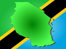 Map of Tanzania. And their flag illustration Stock Photography