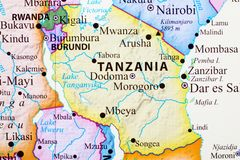 Map of tanzania. Its capital city is Dodoma royalty free illustration