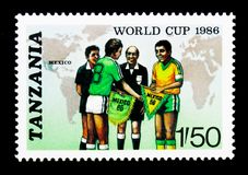 Map, Team Captains and Officials, FIFA World Cup 1986 - Mexico serie, circa 1986. MOSCOW, RUSSIA - JANUARY 2, 2018: A stamp printed in Tanzania shows Map, Team stock image