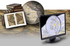 Map and technology. This image shows a few old maps, compared to a screen that shows a modern map Royalty Free Stock Image