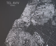 Map of Tel Aviv, Israel, satellite view Stock Images