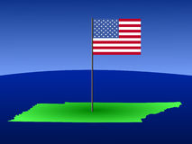 Map of Tennessee with flag. Map of Tennessee with American flag on pole illustration Stock Photography