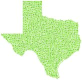 Map of Texas. Abstract green map of Texas against white Stock Images