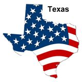 Map of texas. Illustration of the map of texas with stars and stripes Royalty Free Stock Images
