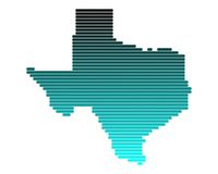 Map of Texas. In broad lines with turquoise gradient Vector Illustration