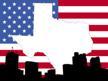 Map of Texas background. Map of Texas on American flag with Dallas skyline Royalty Free Stock Photo