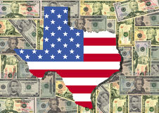 Map of Texas with cash. Map of Texas with American flag and dollars illustration Royalty Free Stock Image