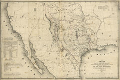 Map of Texas and the countries adjacent 1844 Stock Photos
