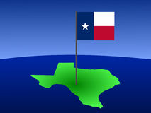Map of Texas with flag. Map of Texas and their flag on pole illustration Stock Image