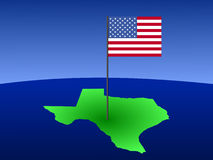 Map of Texas with flag Royalty Free Stock Images