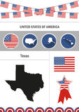 Map of Texas. Set of flat design icons infographics elements with Royalty Free Stock Photography