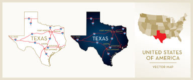 Map of Texas. USA State  map, Texas Stock Photo