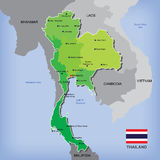 Map of Thailand. Map and flag of Thailand Stock Image
