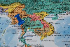 Map of Thailand. With a green pushpin stuck royalty free stock photography