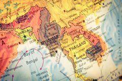 Map of Thailand and Laos. Close-up image. Vintage Map Thailand and Laos . Close-up macro image of Thai map . Selective focus on Bangkok stock photo