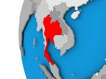 Map of Thailand on political globe. Thailand in red on political globe. 3D illustration Royalty Free Stock Photography