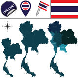 Map of Thailand with Regions Stock Photography