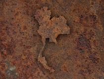Map of Thailand on rusty metal. Colorful and crisp image of map of Thailand on rusty metal stock photos