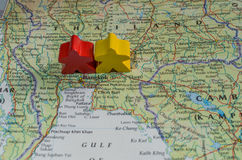 Map of Thailand showing conflict between red shirts and yellow shirts Royalty Free Stock Photography