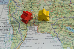 Map of Thailand showing conflict between red shirts and yellow shirts Stock Photo