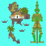 Map with Thailand symbol, marble Temple Benchamabophit, Guardian Giant Yaksha, Buddhist stupa - chedi, long-tail boat, Thai taxi v Royalty Free Stock Photography