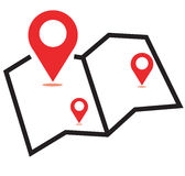 Map three red  icon. Pin on the map. Vector icon Royalty Free Stock Photo