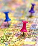 Map with Thumb Tacks Stock Photos