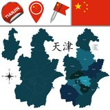 Map of Tianjin with Divisions. Vector map of Tianjin with named divisions and travel icons. There are chinese characters in a set - it means Tianjin Stock Images