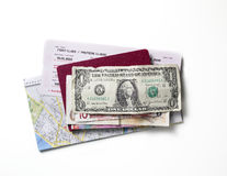 Map ticket money Royalty Free Stock Image
