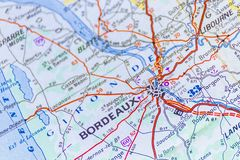 Bordeaux. The map to Bordeaux City, Switzerland Stock Photography