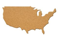 Map to the country USA in cork material. Map to the country USA, United States of America made of cork material isolated on white royalty free stock image