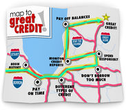 Map to Great Credit Score Rating Payment History Borrow Loan Mon. Map to Great Credit words on a road map as directions to improving your score or rating so you Royalty Free Stock Photo