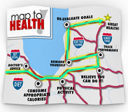Map to Health Words Leading You to Diet Exercise Plan Goal Royalty Free Stock Photo