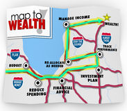Map to Wealth Financial Advice Saving Making Money Income. A map to wealth with directions and destination listed with instructions on how to earn more money and Royalty Free Stock Photo