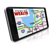 Map to Wealth Navigation GPS Smart Phone Find Income Money Earni. Map to Wealth navigation on GPS global positioning system on phone or other smart mobile device Royalty Free Stock Photo